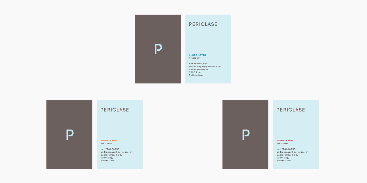 Periclase Business Cards, variations